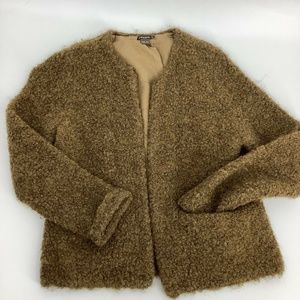 J.Mclaughlin Teddy Bear Jacket Sweater Brown M